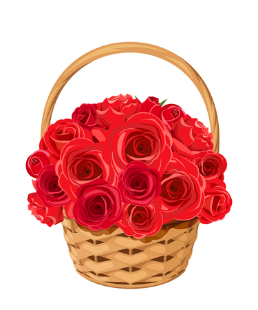 Vector basket with red roses isolated on a white background.