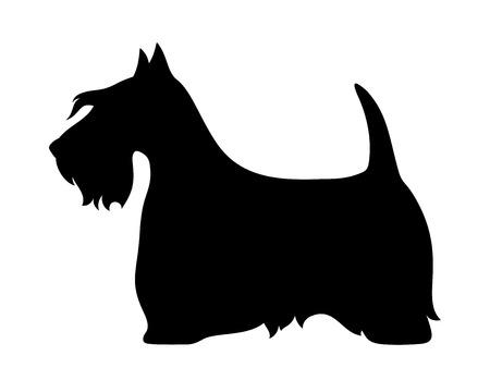 白い背景に分離したスコットランド テリア犬のベクトル黒シルエット。