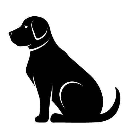 Vector black silhouette of a dog isolated on a white background. Иллюстрация