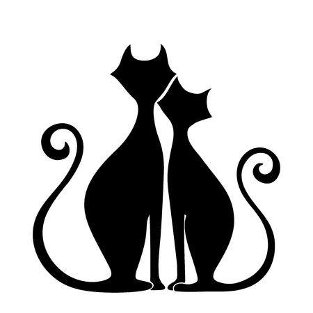 Vector black silhouettes of cats in love isolated on a white background.