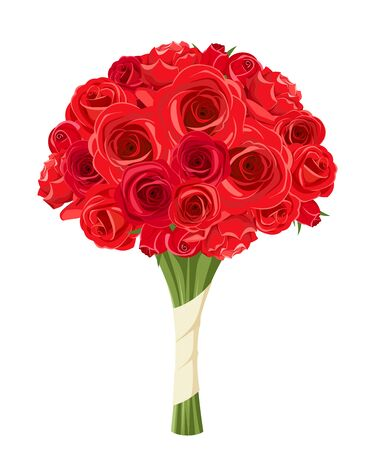 red rose bouquet: Vector bouquet of red roses isolated on a white background. Illustration
