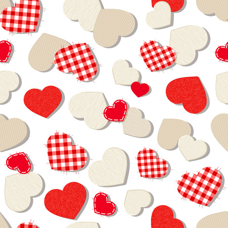 Vector Valentines day seamless background with textured paper, fabric and wooden hearts on white.