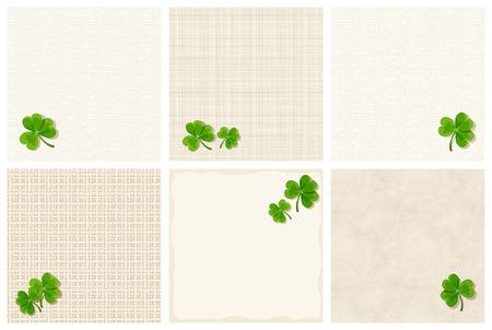 erin: Set of St. Patricks day textured layout shamrock leaves.