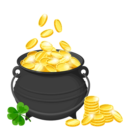 black pot of gold coins and shamrock isolated on a white layout.