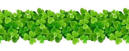 St. Patricks day horizontal seamless layout with shamrock leaves.