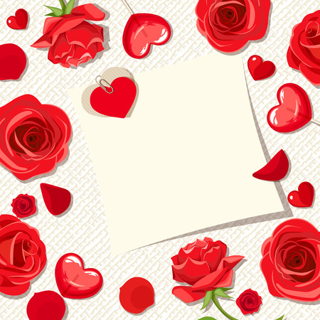 Vector Valentines day card with red roses, petals and hearts.