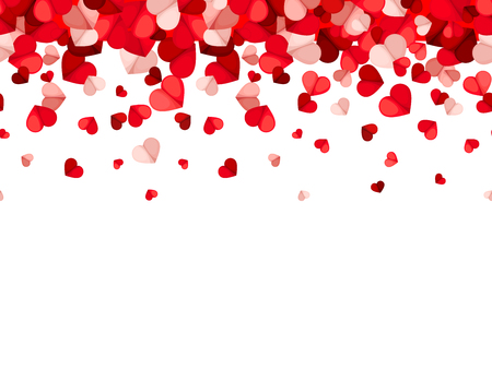 Vector horizontal seamless background with red and pink falling hearts. Illustration