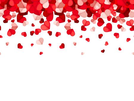Vector horizontalen nahtlosen Hintergrund mit den roten und rosa fallenden Herzen.