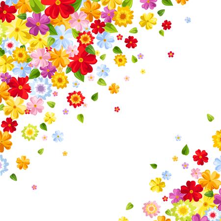 Vector achtergrond met heldere kleurrijke bloemen en bladeren.