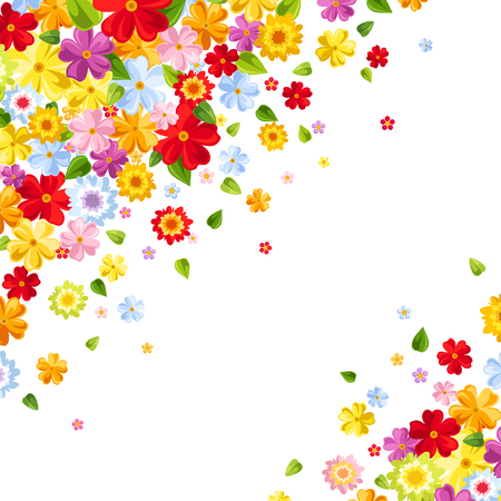 Vector background with bright colorful flowers and leaves.