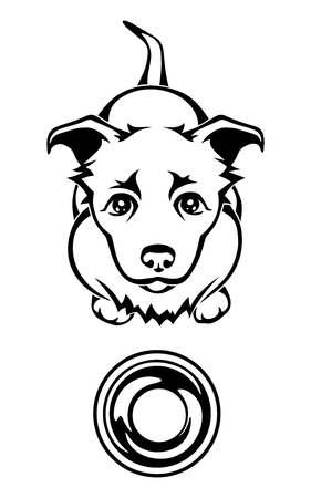pitiful: Vector black and white illustration of a hungry dog begging for food with an empty bowl.