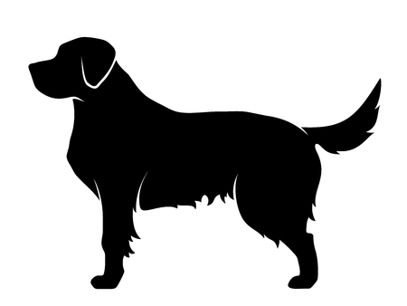 Vector silhouette noire d'un chien isolé sur un fond blanc.