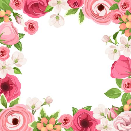 Cadre avec des roses rouges et roses, lisianthuses, rancunière et fleurs de pomme.