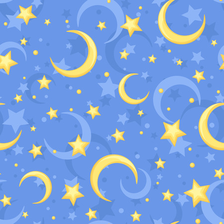 stardom: Pattern with yellow stars and crescents on a blue background. Illustration