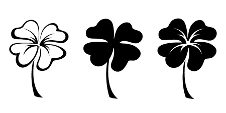 Set of three vector black silhouettes of four leaf clovers. Иллюстрация