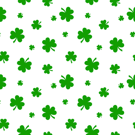 st  patrick's day: Vector St. Patricks day seamless pattern with green shamrock leaves on a white background.