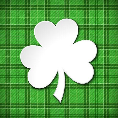 cloverleaf: Vector St. Patricks day green tartan card with shamrock.