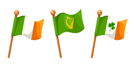 leinster: Vector set of Irish Flag, Irish Flag with shamrock and Leinster Province Flag isolated on a white background.
