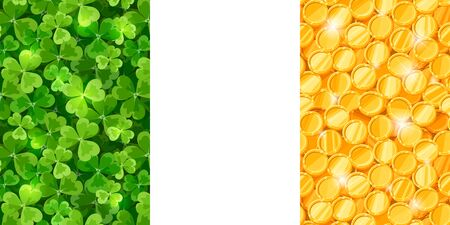 cloverleaf: Vector Irish flag made of green shamrock and gold coins.