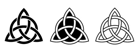 Vector set of three Celtic trinity knots isolated on a white background.