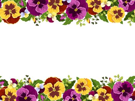 노란색과 보라색 팬 지 꽃과 녹색 잎 벡터 수평 원활한 프레임.