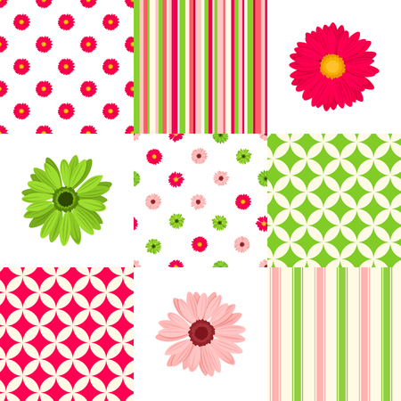 Vector patchwork pattern with pink and green floral and geometric elements.