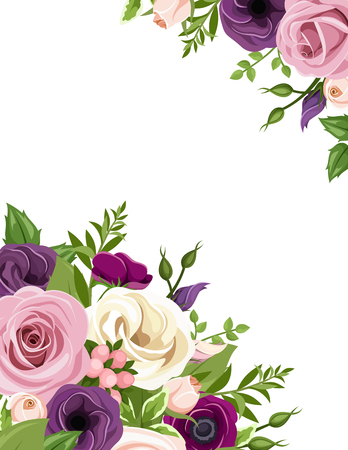 Vector background with pink, purple, white and orange roses, lisianthus and anemone flowers and green leaves.