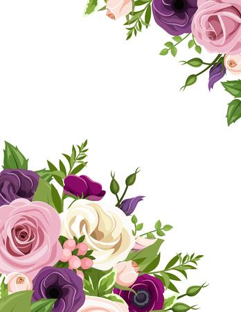 flores moradas: Vector de fondo con rosas de color rosa, morado, blanco y naranja, lisianthus y flores de la anémona y hojas verdes.