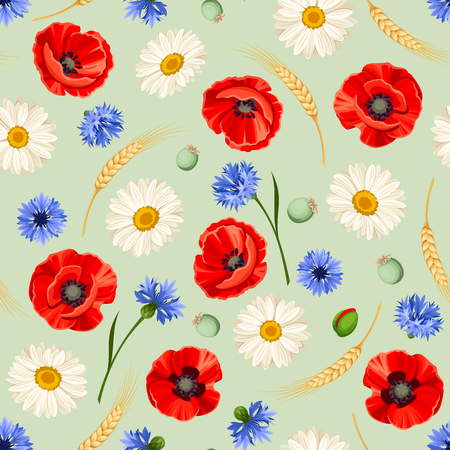 Vector seamless pattern with red poppies, white daisies, blue cornflowers and ears of wheat on a green background.