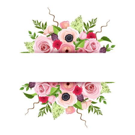 rosas rojas: Bandera de fondo del vector con rosas rojas, rosadas y verdes, anémonas, ranúnculo y flores y hojas de lila.