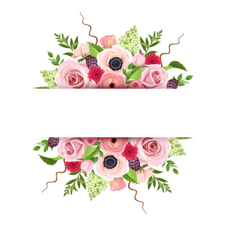 Vector background banner with red, pink and green roses, anemones, ranunculus and lilac flowers and leaves.