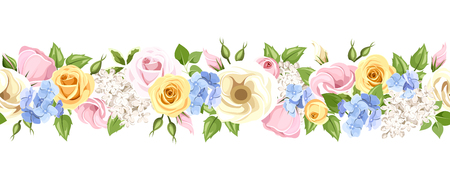 Vector horizontal seamless garland with pink, yellow, blue and white roses, lisianthuses, lilac and hydrangea flowers and green leaves.