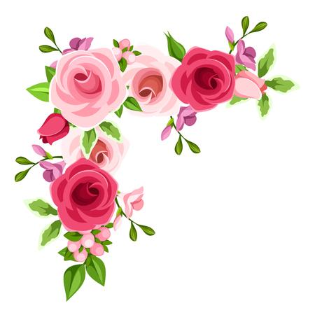 Een vectorhoekachtergrond met rode, roze en purpere rozen en fresiabloemen.