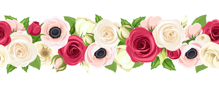 A Vector horizontal seamless garland with red, pink and white roses, lisianthuses and anemone flowers and green leaves.