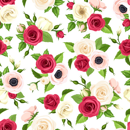 Vector seamless pattern with red, pink and white roses, lisianthuses and anemone flowers and green leaves. Illustration