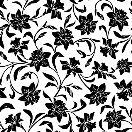 textile texture: Black and white pattern with narcissus flowers.