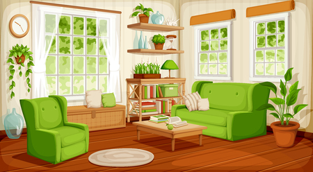 A Vector cozy living room interior with big windows, sofa, armchair and houseplants.
