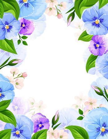 Vector background con fiori blu e viola viola del pensiero e foglie verdi.