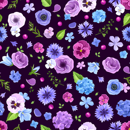 Vector seamless pattern with blue and purple pansies, cornflowers, lisianthuses, bluebells and hydrangea flowers.