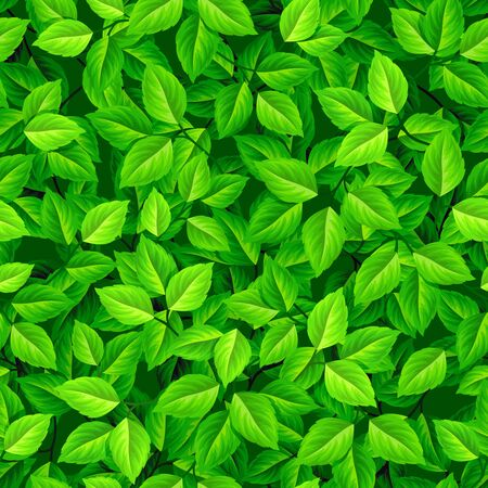Vector seamless background with green leaves. Vetores