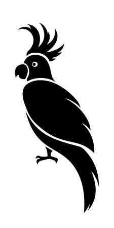 Vector black silhouette of a cockatoo parrot.