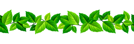 Vector horizontal seamless garland with green leaves. Banco de Imagens - 80406534