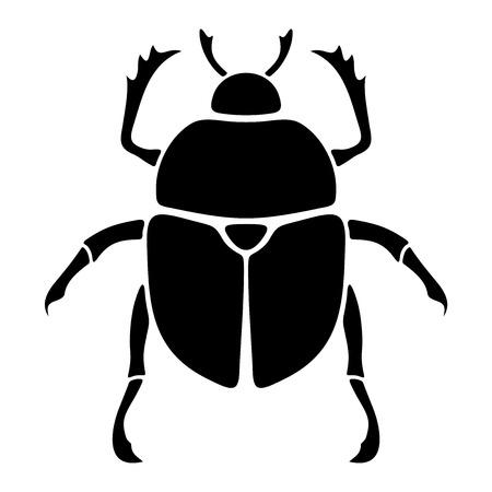 白い背景で隔離のスカラベ カブトムシの黒いベクター シルエット。