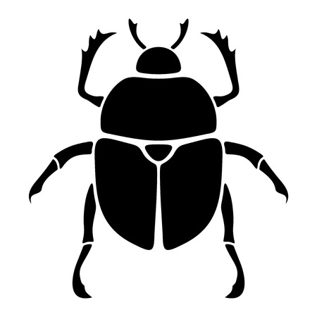 coleoptera: Vector black silhouette of a scarab beetle isolated on a white background.