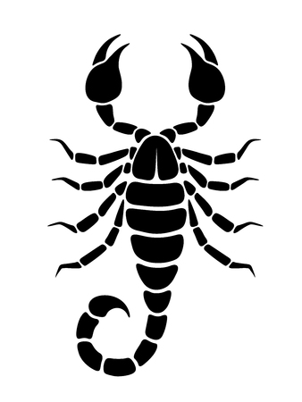 Vector black silhouette of a Scorpio isolated on a white background. Stock Vector - 81158720