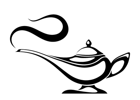 Black silhouette of an Arabic genie lamp. Vectores