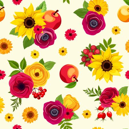色とりどりの秋の花、リンゴの果実とシームレスなパターンをベクトルします。