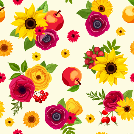 Vector seamless pattern with colorful autumn flowers, apples and berries. Ilustração