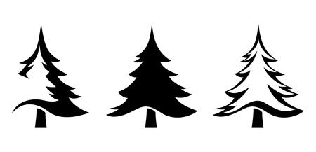 Conjunto de vectores de siluetas negras de abetos aislados en un fondo blanco. Ilustración de vector