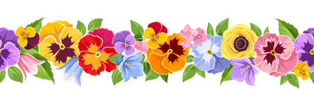 Vector horizontal seamless background with colorful pansy, bluebell and lilac flowers and green leaves. Illustration